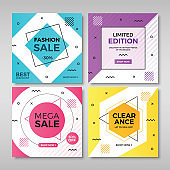 Set of modern promotion square banners Vol.3