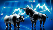 Silver Bull and Bear with Stock Market Graph