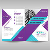 Business brochure cover template with purple and cyan geometric shapes