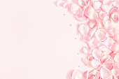 Flowers composition. Rose flower petals on pastel pink background. Valentine's Day, Mother's Day concept. Flat lay, top view, copy space