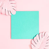 Summer composition. Tropical palm leaves, blue paper blank on pink background. Summer concept. Flat lay, top view, copy space, square