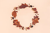 Autumn composition. Wreath made of oak leaves, flowers, acorns on beige background. Autumn, fall concept. Flat lay, top view, copy space