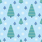 Colorful seamless pattern with fir trees.