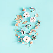 Winter composition. Dried leaves, cotton flowers, berries, pine cones on blue background. Winter, christmas concept. Flat lay, top view, square