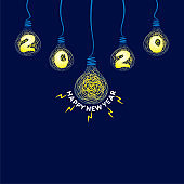 creative new year 2020 poster design