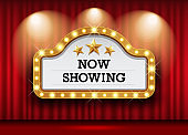 Cinema Theater and sign light up curtains red design background