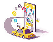 Vector taxi mobile app illustration
