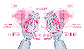 The robot mechanical arm or hand with HUD virtual holographic elements. Artificial Intelligence futuristic design concept. Creative poster in Cyber style.