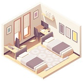 Vector isometric dormitory or dorm room