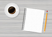 Notepad and pencil and coffe on white wood background. Vector stock illustration.