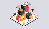 Isometric design concept virtual reality and augmented reality. software development and programming. Computation of big data center, quantum computer isometric vector technology