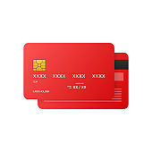 Credit Cards illustrations. Front and Back views. Vector illustration.