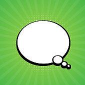 Comic speech bubble. Retro burst background in pop style. Vector stock illustration.