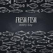 Fish layout, chalkboard style.