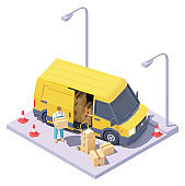 Vector isometric courier with parcels and delivery van