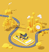 Vector courier delivery service illustration