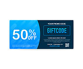 Template red and blue gift card. 500 dollars voucher. Promo code. Vector Gift Voucher with Coupon Code. Vector illustration.