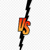 Versus logo vs letters for sports and fight competition. Vector stock illustration.