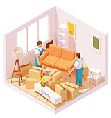 Vector isometric movers carrying sofa in room