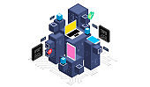 Isometric design concept virtual reality and augmented reality. software development and programming. Computation of big data center, information processing, database. isometric vector technology