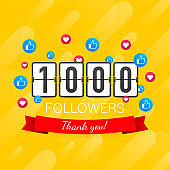 1000 followers, Thank You, social sites post. Thank you followers congratulation card. Vector stock illustration