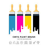Vector design colorful Paint brush isolated on white background