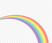 Rainbows in different shape realistic set on transparent. Vector stock illustration.