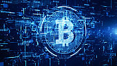 Bitcoin currency sign in digital cyberspace, Business and Technology Network Concept.