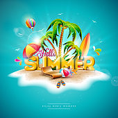 Vector Hello Summer Holiday Illustration with 3d Typography Letter on Ocean Blue Background. Tropical Plants, Flower, Beach Ball, Air Balloon, Surf Board and Sunshade for Banner, Flyer, Invitation, Brochure, Poster or Greeting Card.