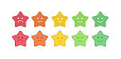 Vector icon set of the colorful star shaped emoticons with different mood. Smiles with five emotions: dissatisfied, sad, indifferent, glad, satisfied. Design for estimating client assessment.