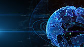 Digital data global network connections cyberspace. technology background Concept.
