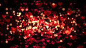 Valentines background, flying abstract hearts shape and particles