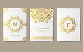 Luxury Gold artistic flyer 3x4 with unique decoration. Invitation card for birthday, party or wedding. Traditional illustration design with typography for printing. Vertical festive postcard with invitation text