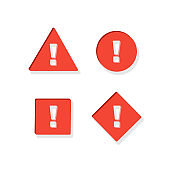 Set of attention sign. Red icon with shadow effect.