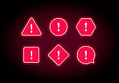 Set of attention sign. Color glowing neon neon icons with exclamation point.