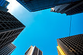 Bottom up view of Hong Kong Commercial buildings