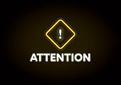 Neon light attention sign. Glowing yellow rhombus icon with exclamation point.