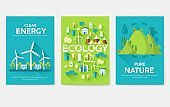 Ecology information cards set. Ecological template of flyer, magazines, posters, book cover, banners. Eco infographic concept  background. Layout illustrations modern pages with typography text