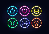 Neon style emoticon set. Thumb up, heart, anger, sadness, delight and laughing.