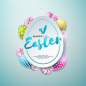 Vector Illustration of Happy Easter Holiday with Painted and Spring Flower on Shiny Blue Background. International Celebration Design with Typography for Greeting Card, Party Invitation or Promo Banner.