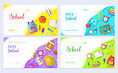 Back to school brochure card set. Student template of flyer, web banner, ui header, enter site. College education layout invitation modern slider