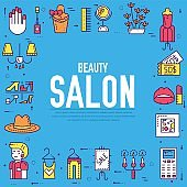 Thin line Beauty salon with assortment vector brochure cards set.  Cosmetology template of flyer, magazines, poster, book cover, banners. Outline equipment invitation concept.