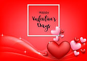 Pink Valentine's Day background with hearts on red. Vector illustration. Cute love banner or greeting card