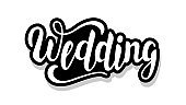 Wedding calligraphy template text for your design illustration concept. Handwritten lettering title vector words on white isolated background