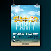 Vector Summer Beach Party Flyer Design with 3d Typography Letter on Underwater Blue Ocean Background. Realistic Summer Vacation Holiday Design Template with Water and Cloudy Sky for Banner, Flyer, Invitation, Poster.