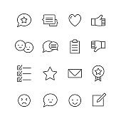 Feedback icons Thin line icons set of testimonials and customer relationship management