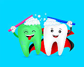 Halloween cartoon tooth character brushing together.