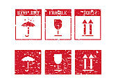 Fragile, arrow up, keep dry umbrella. Vector logistics grungy icons and box signs set for cargo