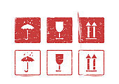 Vector logistics grungy box signs and stamp set for cargo. Fragile, arrow up, keep dry umbrella.