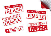 Vector fragile, handle with care retro sticker box sign. Logistics clean rubber stamp set for cargo